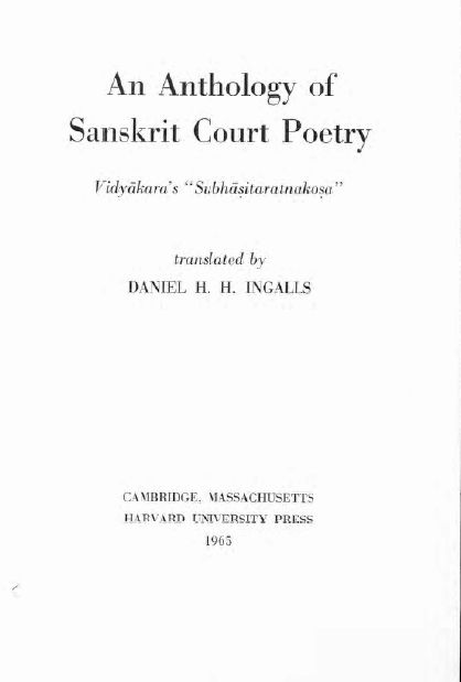 Book Excerptise An Anthology Of Sanskrit Court Poetry Vidyakaras