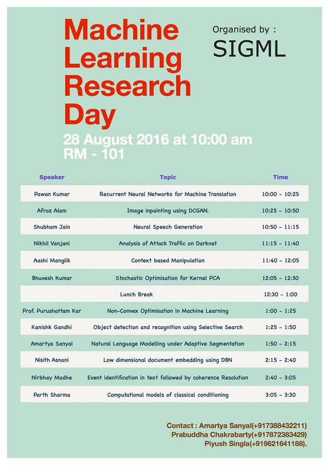 Sigml special interest group machine learning august 282016 machine learning research day fandeluxe Gallery